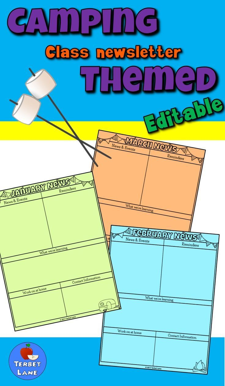 Keep your students parents informed with editable camping themed newsletter templates.  Editable text on a non-editable camping themed background make it quick and easy to put together a monthly newsletter. Print on colored paper and go. No color ink needed.  #camping #newsletter #campingtheme