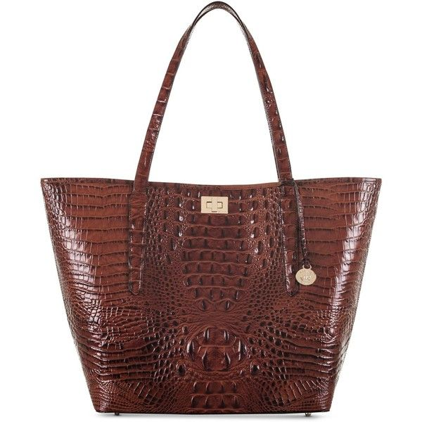 Brahmin Annika Melbourne Extra-Large Tote (1.015 BRL) ❤ liked on Polyvore featuring bags, handbags, tote bags, pecan, handbags totes, tote bag purse, brahmin handbags, brahmin purses and croc embossed leather handbags