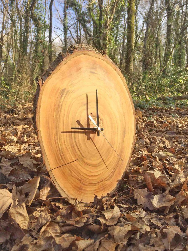 Natural Clock, Unusual Wood Clock, Wooden Wall Clock, Large Wall Clock, Rustic Wall Clock, Oak Slice Clock, Country Wall Clock, Wood Clock by WoodclockDesign on Etsy