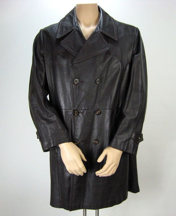 1970's Men's Brown Leather Car Coat // Vintage Leather Jacket