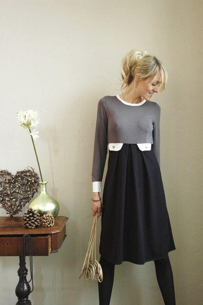 """Zweifarbiges Kleid """"Lucia"""", marineblau-grau von Jekyll und Kleid auf DaWanda.com"""