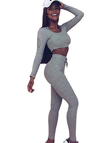7cfa335f2c902 Minetom Mujer Basculador Conjunto De Chándal Dos Piezas Crop Top Sudadera  Con Capucha Pantalones Largos Con