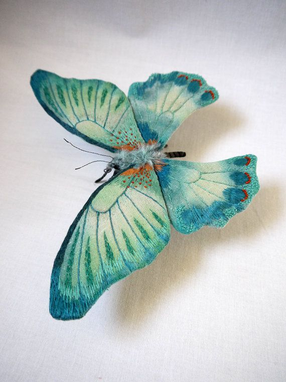 Fabric sculpture Large turquoise color butterfly by irohandbags