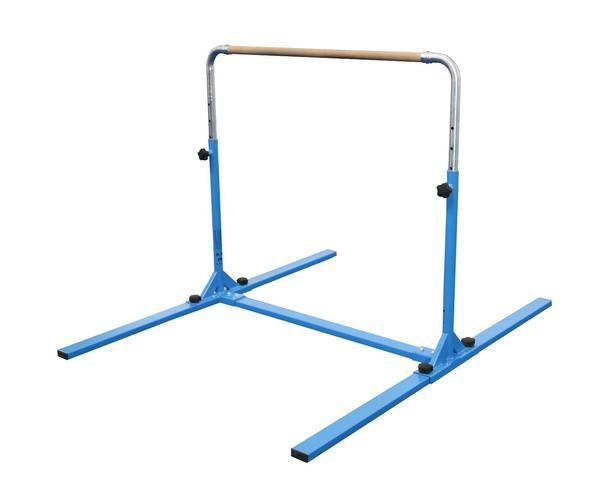 """The Tumbl Trak Jr. Bar Pro offers a strong durable frame and simpleset up. Thishome gymnastics bar features quick adjustable knobs, that allow the bar height to adjust from 38"""" up to 58 1/2"""". This bar is great for any age gymnast up to 125lbs."""