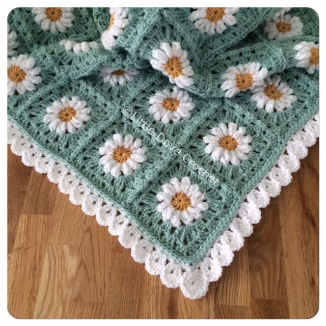 Little Dove Crochet Daisy Blanket incl border pattern