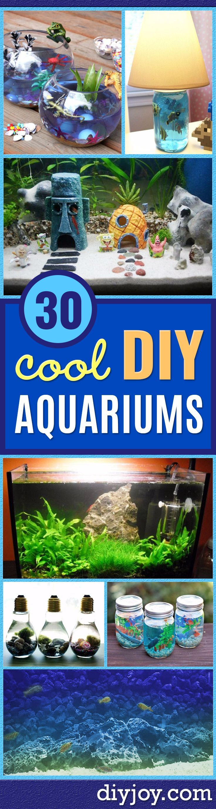 DIY Aquarium Ideas - Cool and Easy Decorations for Tank Aquariums, Mason Jar, Wall and Stand Projects for Fish - Creative Background Ideas - Fun Tutorials for Kids to Make With Plants and Decor - Best Home Decor and Crafts by DIY JOY http://diyjoy.com/diy-aquariums