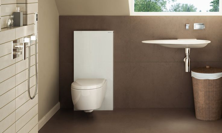 Lift the toilet off the floor and hide the tank behind black or white glass. Dual-flush for water savings too!