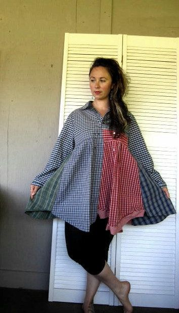 Eco upcycled clothing Funky Patchwork dress Bohemian dress Mori girl Frock Lagenlook Tunic Boho Artsy dress farmgirl cowgirl Large-XLarge-1X