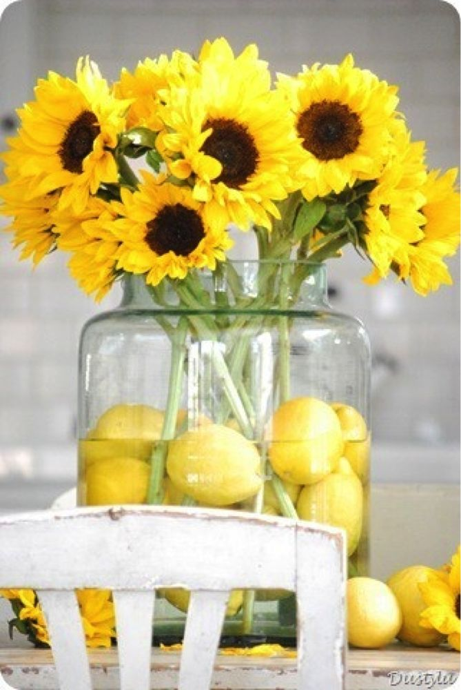Tuesday Tip: Use sunflowers and lemons for your summer table! Great arrangement idea for your home!