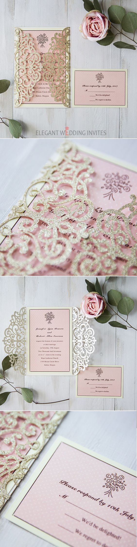 gold and pink glittery laser cut  wedding invites