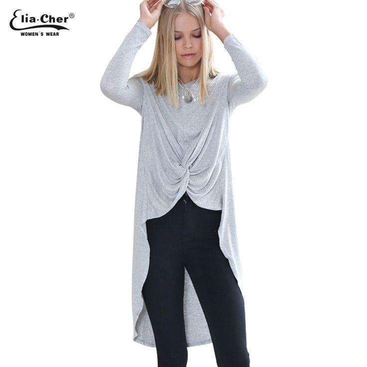 Plus Size Women Tees Tops   Causal Women Clothing Chic Elegant Fashion Full Front Drape Back Long Float Ladies T-shirts Tops #Affiliate