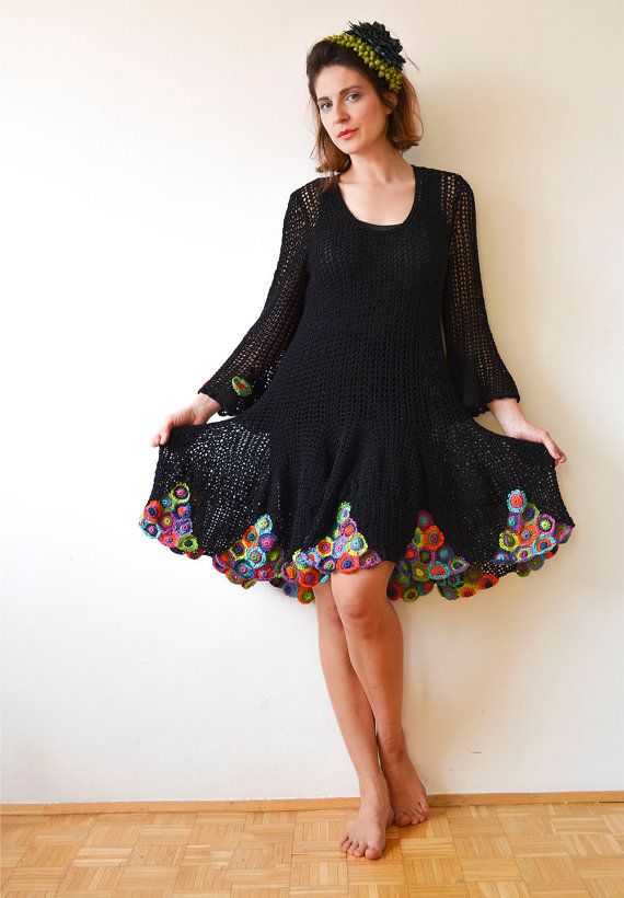 Black Crochet Summer Dress by subrosa123 on Etsy