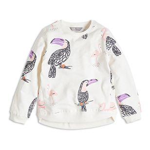 Rosa flamingos och färgglada tukaner samsas på en mjuk, skön tröja.
