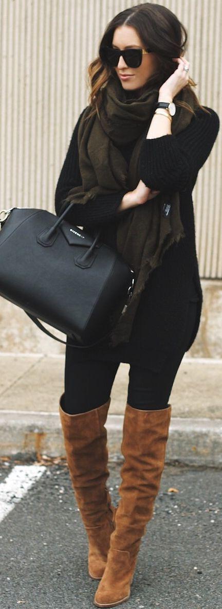 Somewhere, Lately Camel Overknees On Black Fall Street Style Inspo