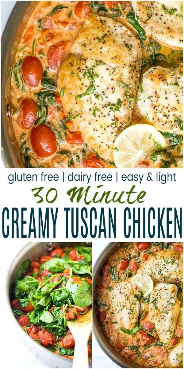 Creamy Tuscan Chicken An Easy 30min Dinner Idea Recipe Dairy Free Recipes Dinner Free Chicken Recipes Gluten Free Dairy Free Recipes Dinner