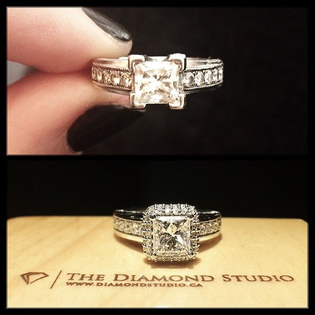 This client came to me no longer happy with the way that her diamond looked  on her ring. She decided she wanted to add a halo to it, ...