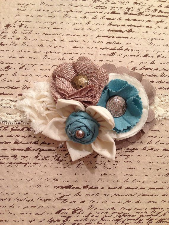 Ivory teal stone and burlap fabric flower by DonnaBellaBows, $18.95