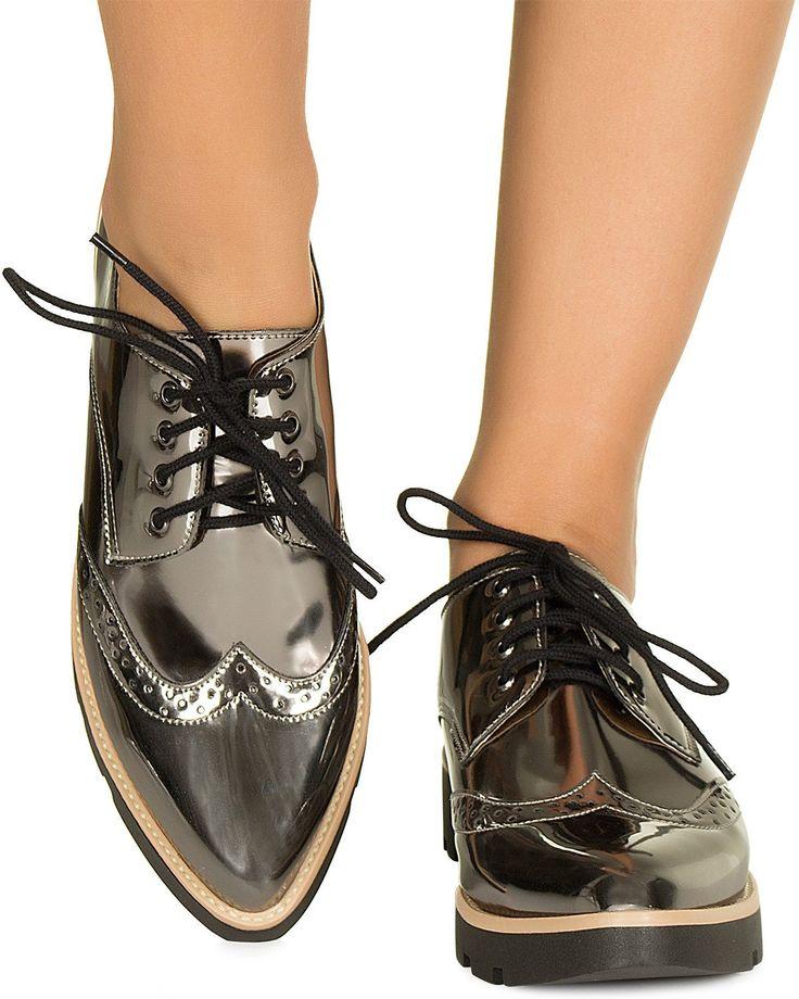 Oxford metalizado grafite Taquilla - Taquilla - Loja online de sapatos femininos