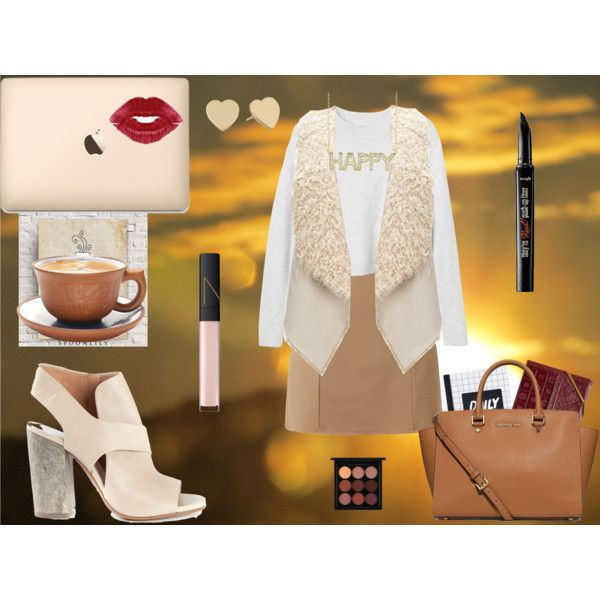 Morning look by andreeamoldo on Polyvore featuring Monki, Unreal Fur, Maison Margiela, MICHAEL Michael Kors, Kate Spade, MAC Cosmetics and NARS Cosmetics