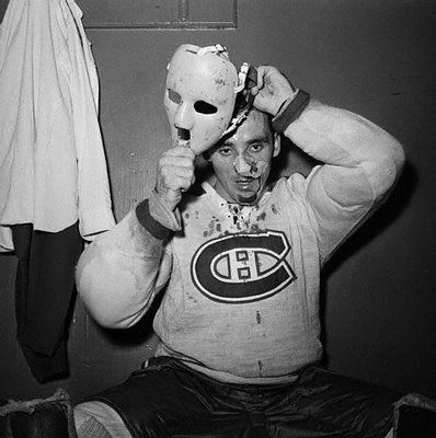 Jacques Plante wearing the mask for the first time.