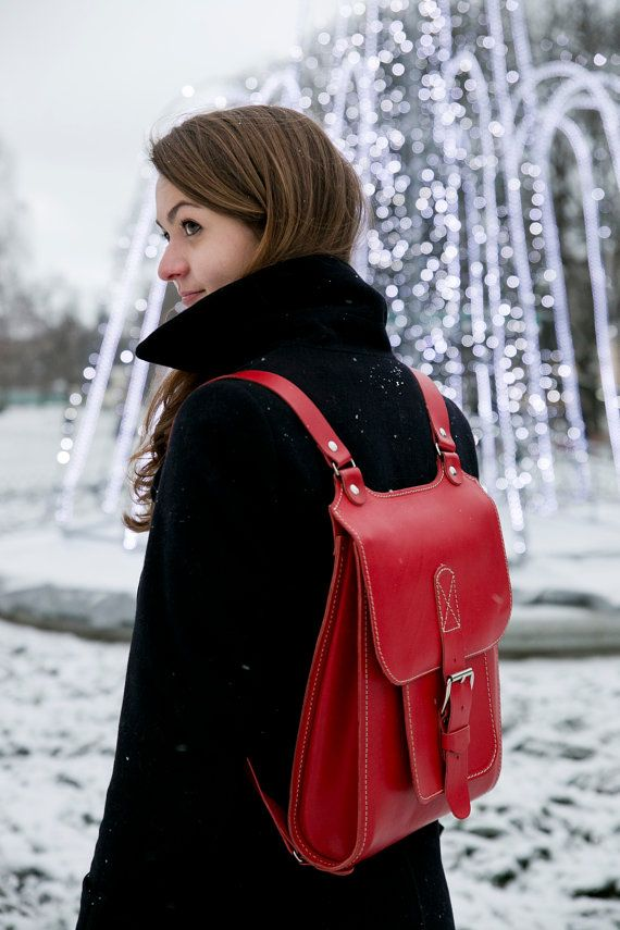 Lovely backpack in red color. Stylish not just for ladies. It could be a great laptop bag! Find in Etsy today $150.00 USD #Handmade #Red #Backpack #InBagWeTrust #Etsy #LaptopBag