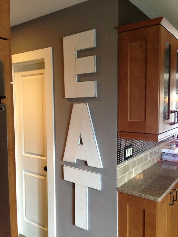 """EAT Large Rustic Wood Wall Art 22"""" letters Painted and Distressed. For kitchen"""