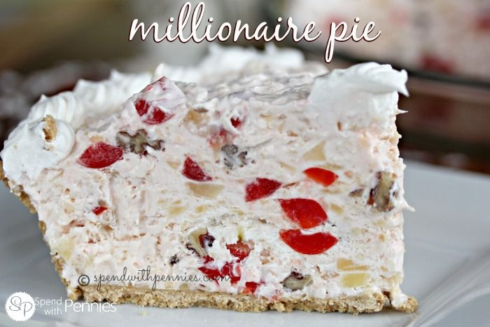 Millionaire Pie! This yummy pie takes just a few minutes of prep and is a family favorite! Loaded with coconut, pineapple, cherries and pecans.