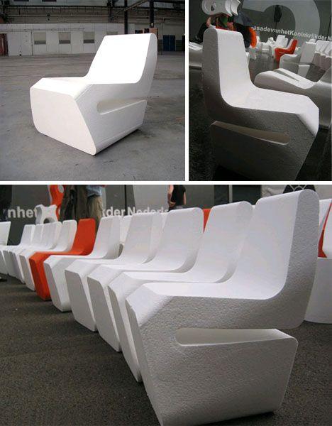 Lasercut styrofoam chair.