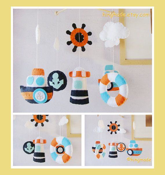 Baby Mobile - Baby Crib Mobile - Nursery Decor - Hanging Nautical Mobile - Mariner Ocean Blue Orange White theme (Custom colors available)