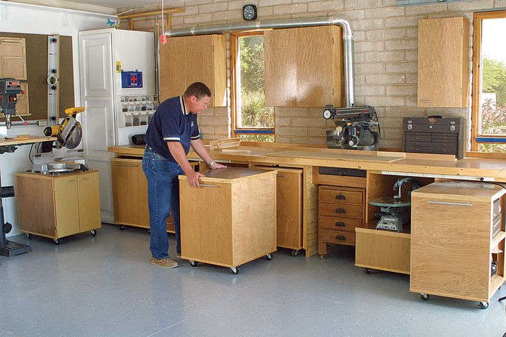 DIY Woodworking Ideas AWESOME Workshop or Garage setup! Rollout storage units - extra workspace on top as needed