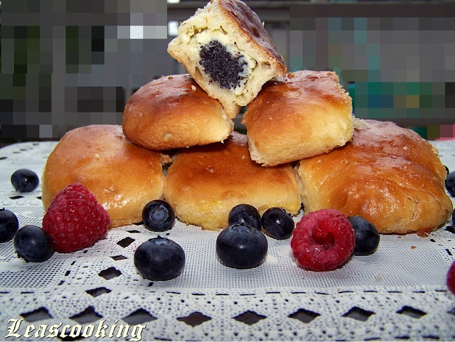 Sweet Pirojki Filled with Cream Cheese and Poppy Seeds