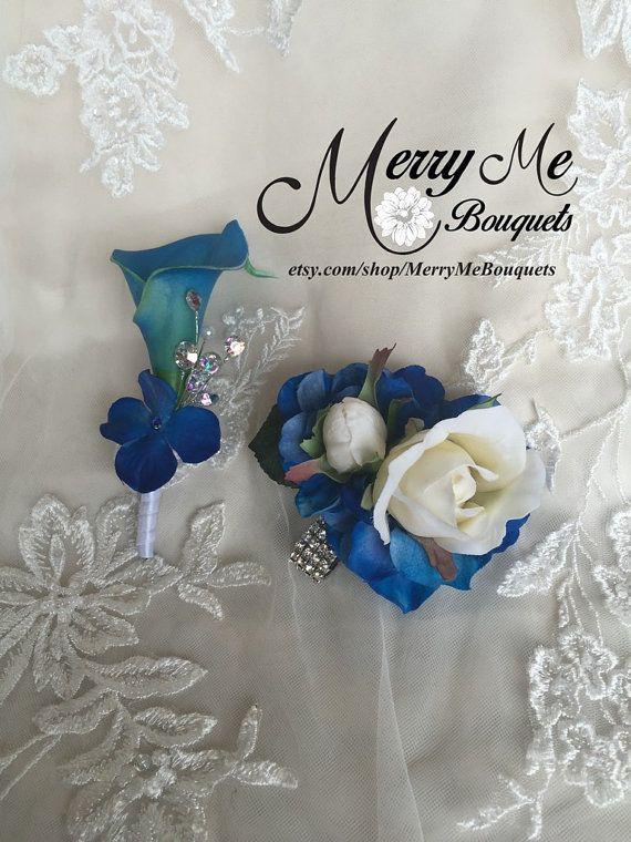 Royal Blue Corsage Set Blue Boutonniere Set by MerryMeBouquets