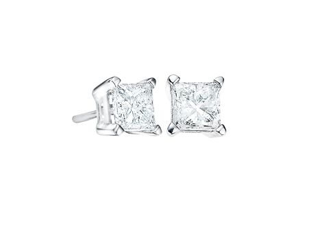 14kt White Gold w/ .50ctw Princess Cut Canadian Diamond Earrings