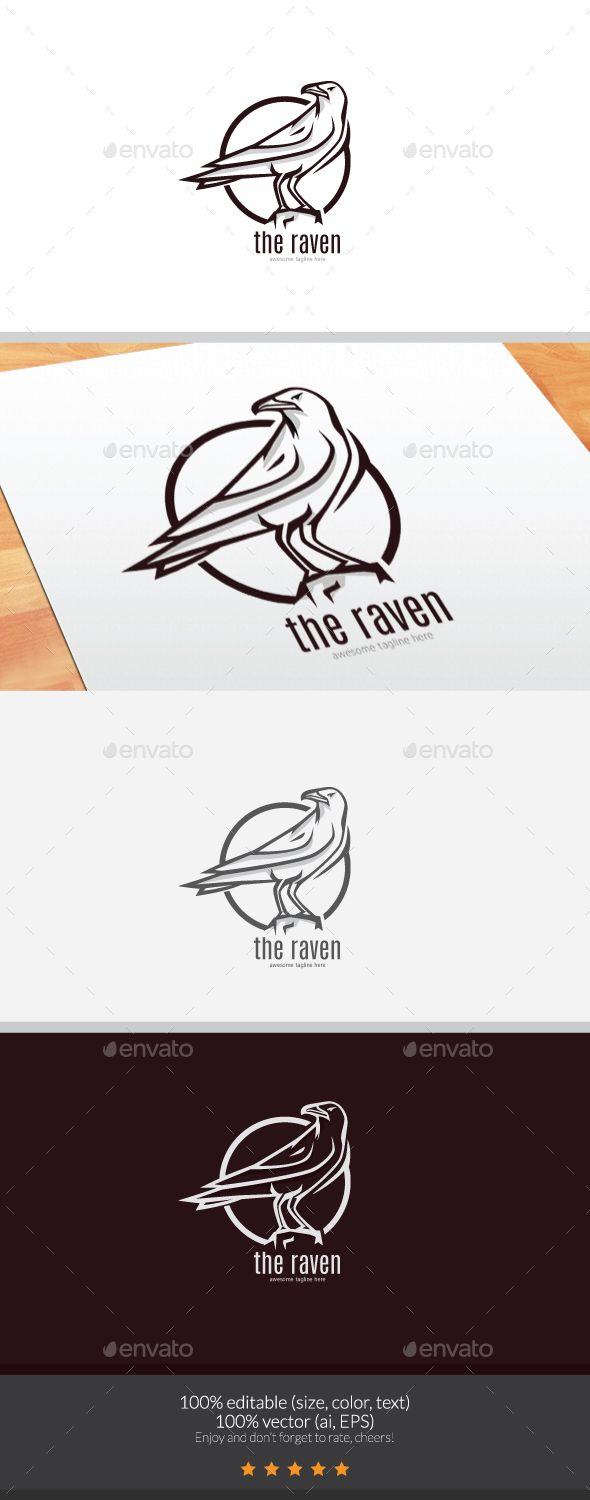 The Raven Logo - Animals Logo Templates