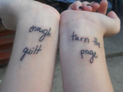 turn the page wrist tattoo