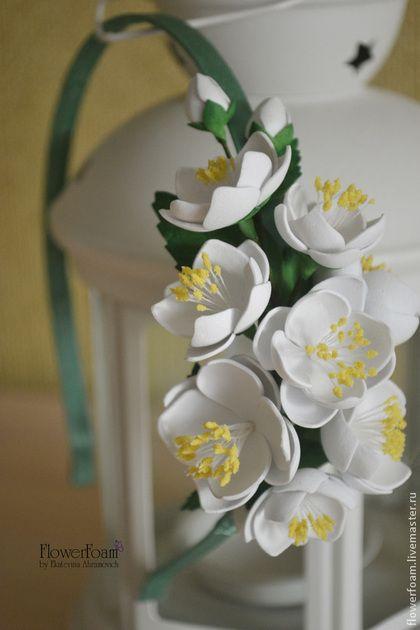 """Цветы из фоамирана. Ободок для волос """"Жасмин"""" - белый,жасмин,цветы из фоамирана"""