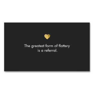 Gold Heart Referral Business Card - Great  marketing | customer loyalty card for cosmetologists, estheticians, makeup artists, hair stylists, manicurists, beauty salons, massage therapists and more. Fully customizable business card.
