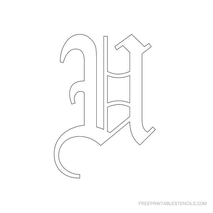 Printable Old English Alphabet Stencil U