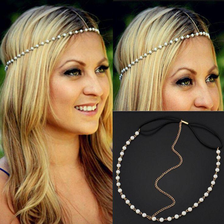 Fashion Womens Metal Pearl Head Chain Forehead Headband Piece Hair band Jewelry #UnbrandedGeneric #Headband