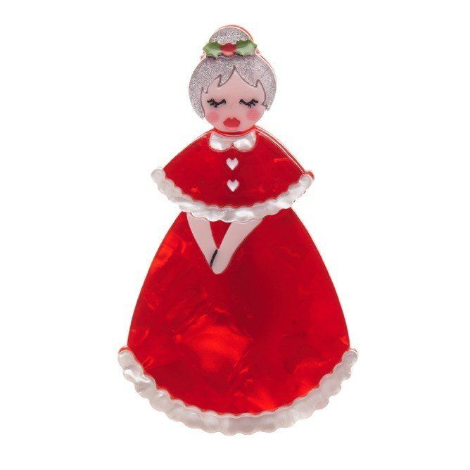 Mrs. Claus makes an appearance in this year's Erstwilder Christmas collection, wearing a beautiful red dress with white trimming.  Laser cut resin, hand assembled and hand painted, presented in a branded box as shown, with a cute teapot tag.