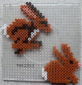 Rabbits hama perler beads by Les Loisirs de Pat