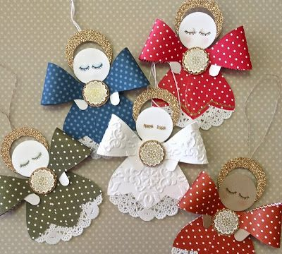 """By Ann Craig. Angels using the Stampin' Up """"Gift Bow Bigz"""" die and paper doilies."""