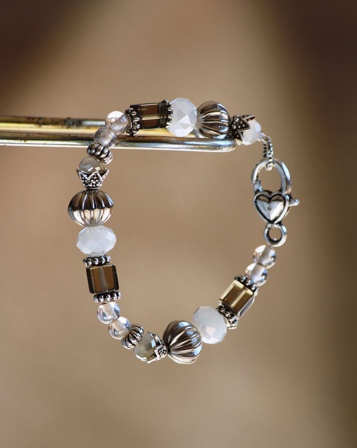 White and brown bracelet made by HeartBeads. https://www.facebook.com/heartbeadsjewellery