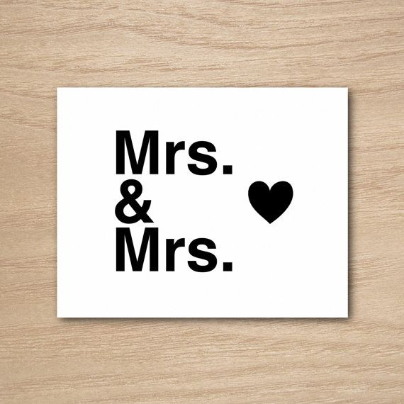 Sweet Engagement Wedding Congratulations Gay Lesbian Greeting Card by Curly Bracket Design - Mrs. & Mrs. Love Heart.