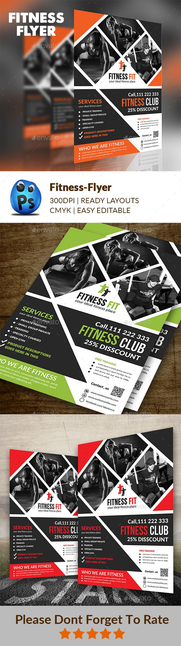 Fitness Flyer Design - Corporate Flyer Template PSD. Download here: graphicriver...