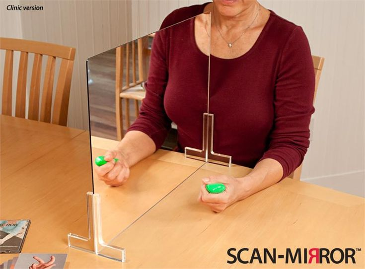 Mirror Therapy for Individuals with hemiplegia after CVA or Stoke. The individuals moves their unaffected hand but they SEE both hands moving! This causes activity in the motor areas of the affected side of the brain.