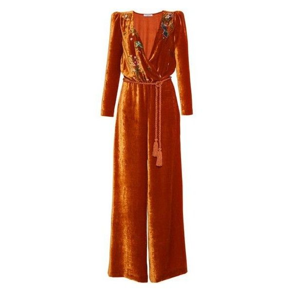 Vivetta Congo Embroidered Velvet Jumpsuit ❤ liked on Polyvore featuring jumpsuits, wrap jumpsuit, jump suit, brown jumpsuit, velvet jumpsuit and vivetta