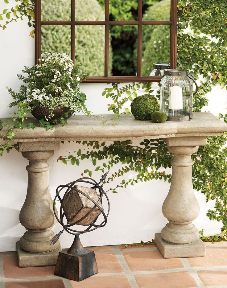 Add a classical element to your outdoor room: our handcrafted Elle Stonecast console table looks like sculpted stone, only it's much lighter in weight, completely outdoor safe, virtually maintenance free—and it's remarkably affordable.