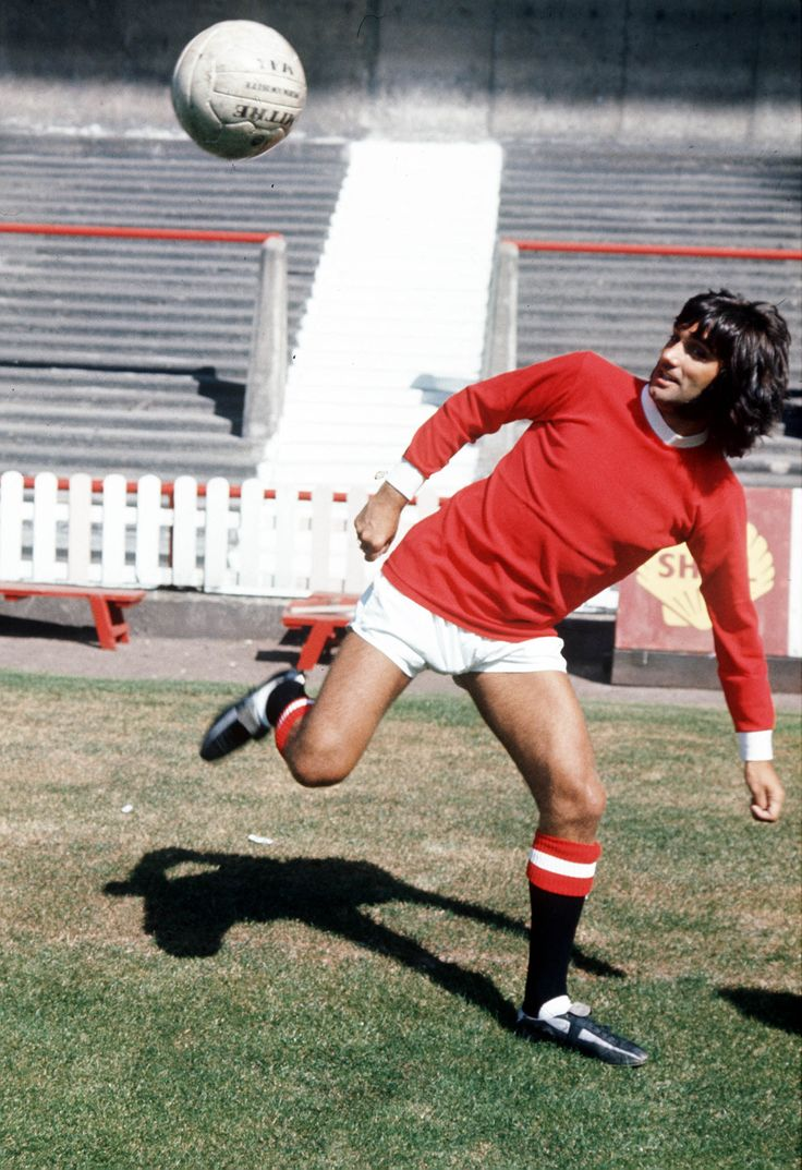 The 'Belfast Boy', George Best, shows off some tricks for the cameras at Old Trafford, home of @manutd.