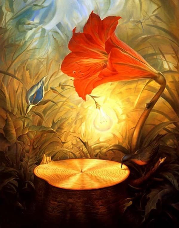 "Great artworks of Russian artist Vladimir Kush. Vladimir Kush, born in Moscow, 1965, is a Russian surrealist painter and sculptor. He prefers to define his art as metaphorical realism rather than surrealism. Each of his painting is fascinating by stunning fantasy stories, game with metamorphic! His work is highly influenced by artist Salvador Dalí. Vladimir states, ""Art school was a world of a new inspiration."
